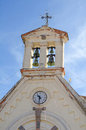 Old catholic church belfry closeup view Stock Photography