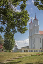 Old, catholic church in little Latvia town Dviete Royalty Free Stock Photo