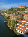 Old cellars in porto view from a bridge portugal along the river douro Royalty Free Stock Image