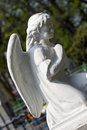 Old cemetery angel sculpture made of stone Royalty Free Stock Photos