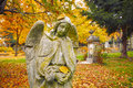 Old cemetery in autumn Royalty Free Stock Photo