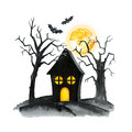 Old Cemetery Landscape. Horror night. Halloween Party Illustration. Watercolor drawing
