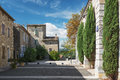 In the old center of the small village Vallon Pont d'Arc, France. Royalty Free Stock Photo