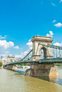 Old chain bridge centre budapest hungary over river danube Stock Photos