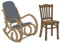 Old chair drawing of wooden and rocker Stock Images
