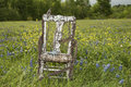 Old chair in field of bluebonnets bird watching and coreopsis Royalty Free Stock Photos
