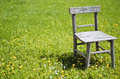 Old chair in meadow Royalty Free Stock Photo