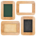 Old chalk board with wood frame collection of isolated on white background Stock Photos