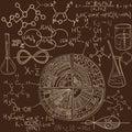 Old chemistry laboratory pattern set. Vintage vector background