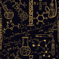 Old chemistry laboratory seamless pattern set. Vintage vector background hand drawing Royalty Free Stock Photo