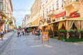 The old chernivtsi ukraine june cozy cafes on olha kobylanska street boasts tasty cuisine local bear and low prices on june in Royalty Free Stock Image