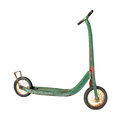 Old child's push scooter isolated worn and weathered green on white Stock Image