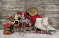 Old children toys on wooden background for christmas decoration.