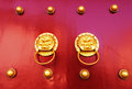 Old chinese door red gate doors with lion knob forbidden city beijing Stock Image