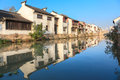 An old Chinese traditional town by the Grand canal,suzhou,China Royalty Free Stock Photo