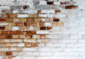 Old chipped white brick wall texture background, whitewashed grungy brick wall, abstract red white vintage background Royalty Free Stock Photo
