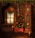 Old Christmas room Royalty Free Stock Images