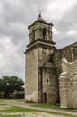 Old church bell tower at mission san jose in san antonio texas low angle photo of the of the josé y miguel de aguayo Royalty Free Stock Photos