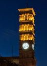 Old church clock tower a nighttime view of the of st andrew in pasadena california Royalty Free Stock Image