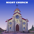 Old church closeup in the wild west at night Stock Image