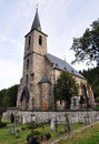 Old church the golden mountains czech republic with a cemetery villages Royalty Free Stock Images