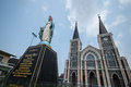 Old church of roman catholic christianity and virgin mary statue at chantaburi province thailand Royalty Free Stock Image