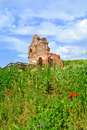 Old church ruins on summer field the red in green meadow setting the red is the early medieval early byzantine basilica built in Royalty Free Stock Photo