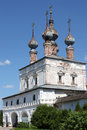 Old church with shabby domes orthodox in russian monastery Royalty Free Stock Photos