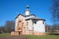 The old Church of St. Paraskevi of Iconium closeup, sunny april day. Veliky Novgorod Royalty Free Stock Photo
