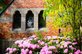 Old church in sweden caroli part of and flowers Stock Photo