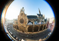 Old church taken fisheye lens in paris france Stock Photo