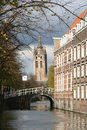 Old Church tower of Delft Stock Image