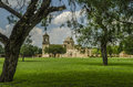 Old church and trees at Mission San Jose in San Antonio, Texas Royalty Free Stock Photo