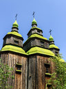 Old church wooden near the village in folk arts museum pirogovo kiev ukraine Royalty Free Stock Images
