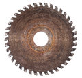 Old circular saw blade for wood work isolated