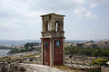 Old citadel in corfu town greece clock tower of palaio frourio greek it is an venetian fortress built on an artificial Stock Image