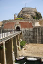 Old citadel in corfu town greece palaio frourio greek it is an venetian fortress built on an artificial islet with Stock Photos