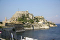 Old citadel in corfu town greece palaio frourio greek it is an venetian fortress built on an artificial islet with Royalty Free Stock Photography