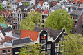 Old city of amsterdam from above apartment buildings historic houses in the district holland netherlands Stock Image