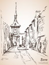Old City of Bern view sketch. Switzerland. Royalty Free Stock Photo