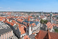 Old city downtown munich germany panoramic view to the Royalty Free Stock Photography