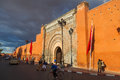 Old city gate bab agnaou in marrakesh with unidentified people on november morocco the town of is listed under the Royalty Free Stock Image