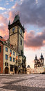 Old city hall in prague on the town square the morning Stock Photography