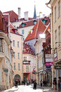 Old city on june in tallinn estonia a crowd of tourists visit the Stock Image