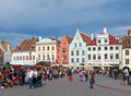 Old city on june in tallinn estonia a crowd of tourists visit town hall square exhibition day the Royalty Free Stock Photo