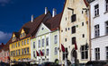 Old city, Tallinn, Estonia. Bright multicolor houses on the Town hall square Royalty Free Stock Photo