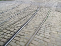 Old City Tram Tracks Royalty Free Stock Photo