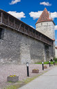 Old city wall and tower in Tallinn, Estonia Stock Image