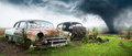 Old Classic Car, Junk Yard Royalty Free Stock Photo