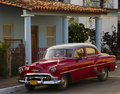 Old Classic Red Car in Cuba Royalty Free Stock Photos